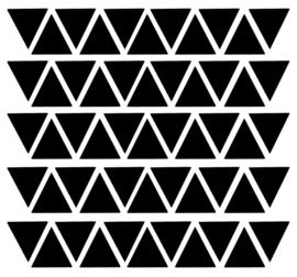 Muurstickers, om je witte muur met driehoekjes te beplakken doorsnee 4 cm 55 stuks kleur zwart.