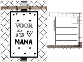 Kaart A6 met tekst ''Voor de liefste mama''.