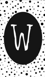 klein kaartje met letter W.