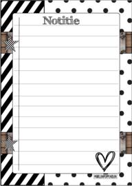 Juf setje met '' sticker 6 cm, kaart a6, pen, klein kaartje, notitie blokje.