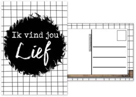 25.Kaart met tekst ''Ik vind jou lief ''.