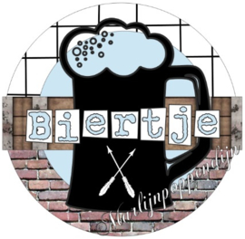 Button opener met tekst ''Biertje''56 mm