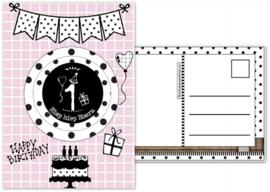 Verjaardagskaart roze  met envelop, met button 1 jaar.