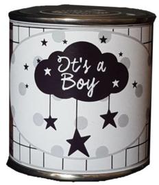 Blikje met tekst ''It's a Boy'' hoog 6 cm doorsnee 6 cm. met hartjes.