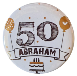 Button  met tekst ''50 Abraham''56 mm