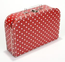 Koffertje rood stip 30 cm