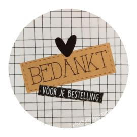 Sticker rond 4 cm met tekst '' bedankt voor je bestelling''.