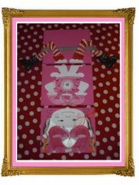 33. schilderij telefoon, drie luik met benen, op zijn kop.