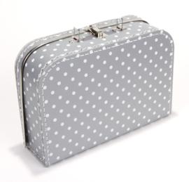 Koffertje grijs stip 30 cm