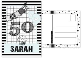 Kaart A6 met tekst ''50 sarah .''. 10.5 bij 14.8