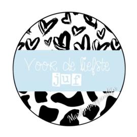 Sticker met tekst ''Voor de liefste  juf '' 6 cm doorsnee.