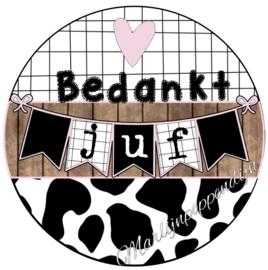 Sticker met tekst ''Bedankt juf'' 6 cm doorsnee.