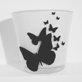 Waxinelichtje met vlinders.