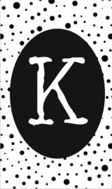 klein kaartje met letter K.