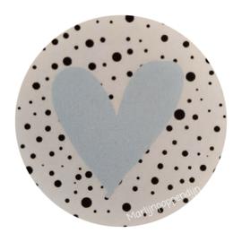 Sticker rond 4 cm met afbeelding blauw hartje.
