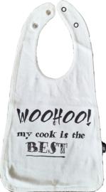 Slab met tekst ''Woohoo my cook is the BEST''