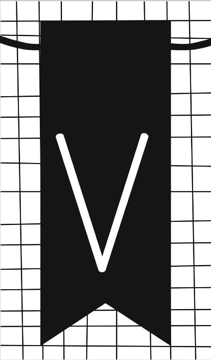 klein kaartje met letter V