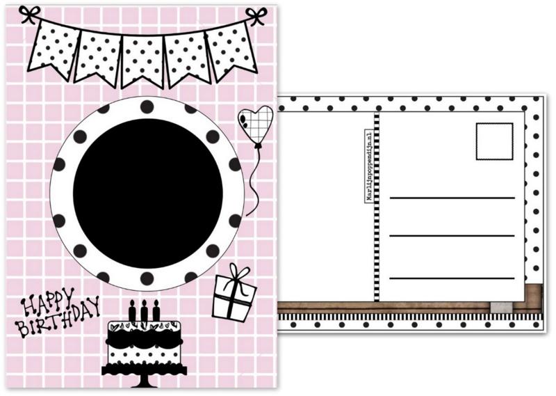 Ansichtkaart voor verjaardags button maat 10.5 bij 14.8.