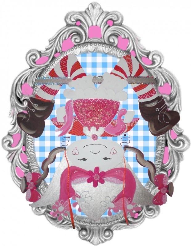 Sticker voor meisje popje op zijn kop 14 bij 18 cm.