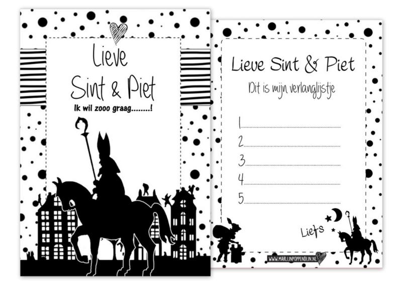"""A6 kaart met tekst ''Lieve Sint & Piet ik wil zoooo graag"""" op de achter zijde verlanglijstje."""
