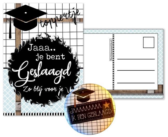 Kaart met tekst ''Jaaa je bent geslaagd Zo blij voor je'' en button met tekst Jaaaaa ik ben geslaagd.