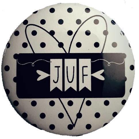 Spiegeltje met tekst ''juf''  56 mm