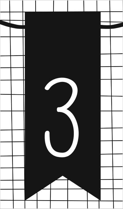 klein kaartje met cijfer 3