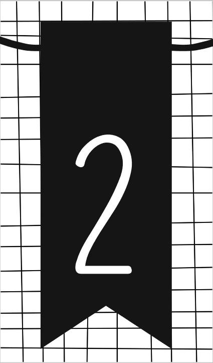 klein kaartje met cijfer 2