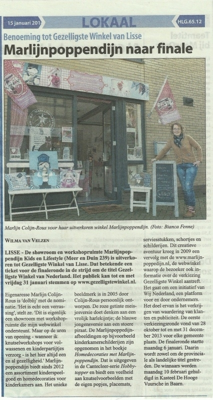 In het witte weekblad Lisse Lisserbroek 15 Januari 2014