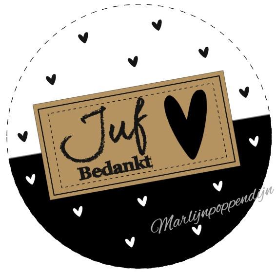 Sticker met tekst ''Juf bedankt'' met hartjes 6 cm.
