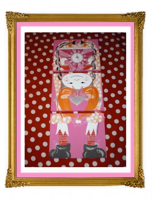 29. schilderij meisje klok drie luik op zijn kop