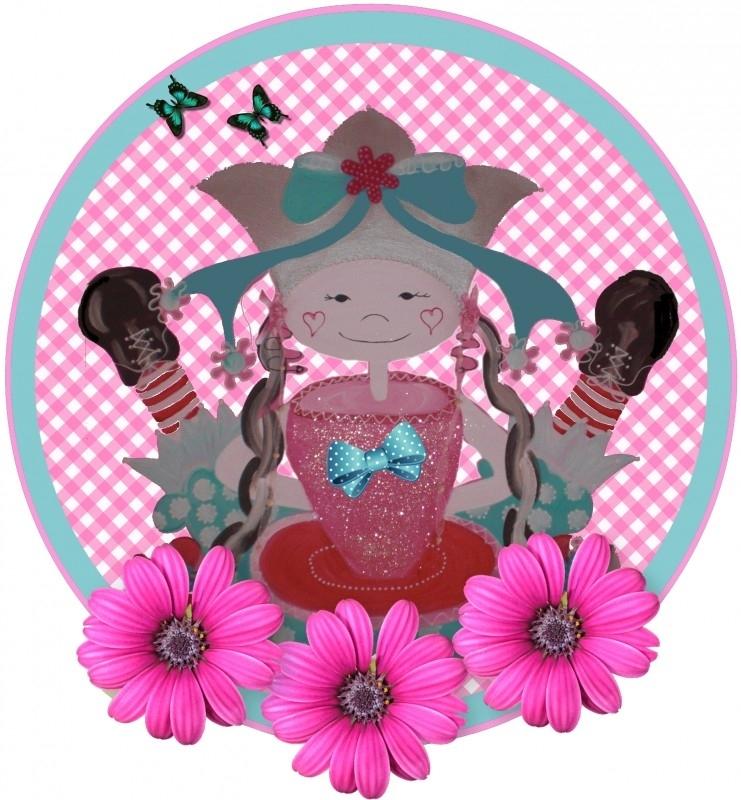 Sticker voor meisje groot kop en schotel  20 bij 21 cm