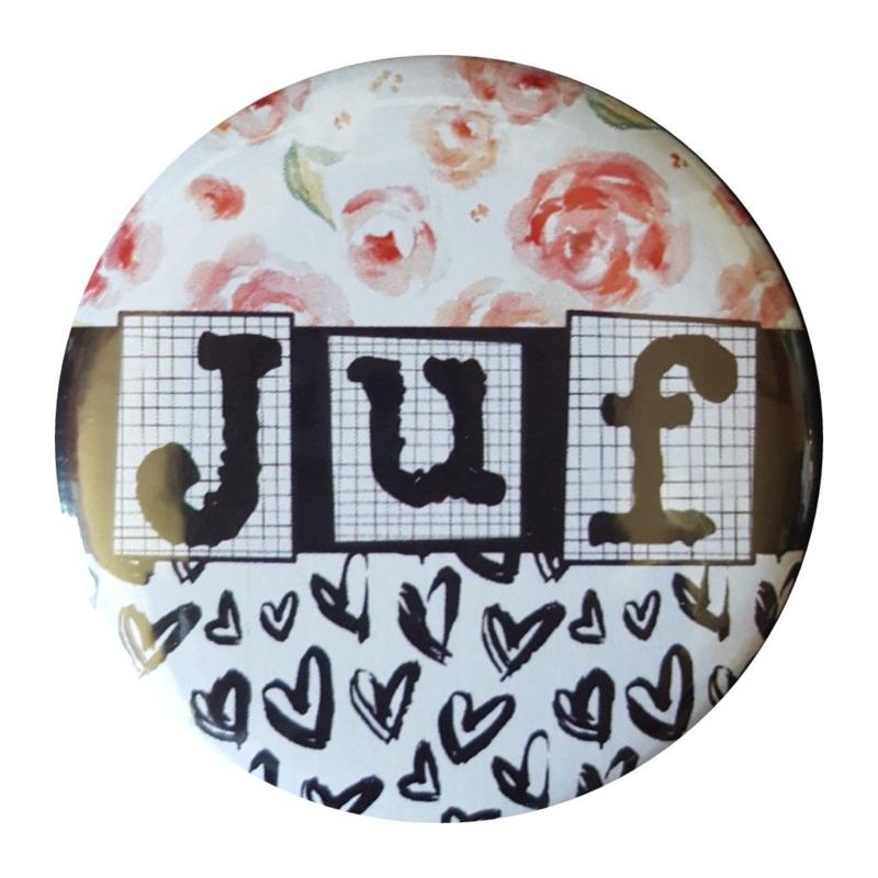 Spiegeltje met tekst '' Juf'' 56mm.