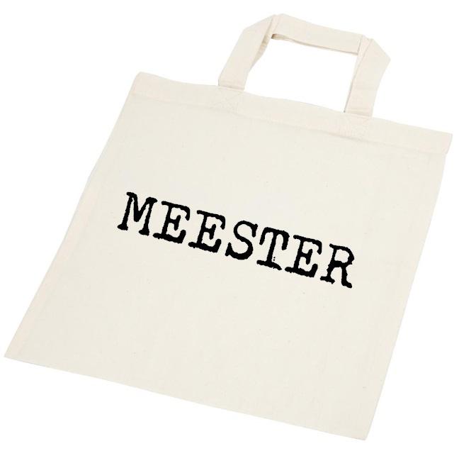 Tasje met tekst Meester maat 30 cm bij 33 cm
