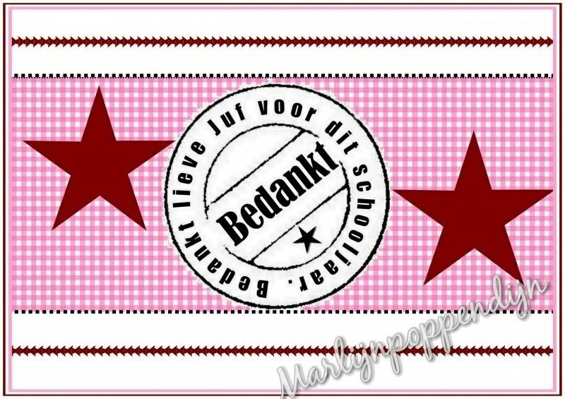 Sticker met tekst '' bedankt juf''. 6 bij 8 cm