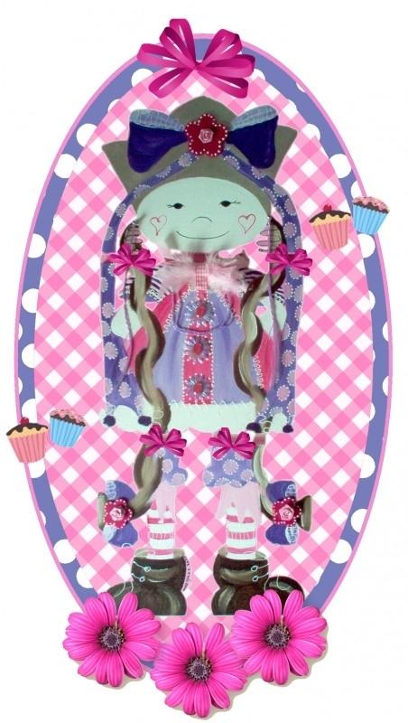 Sticker meisje tasje paars 28 bij 15 cm
