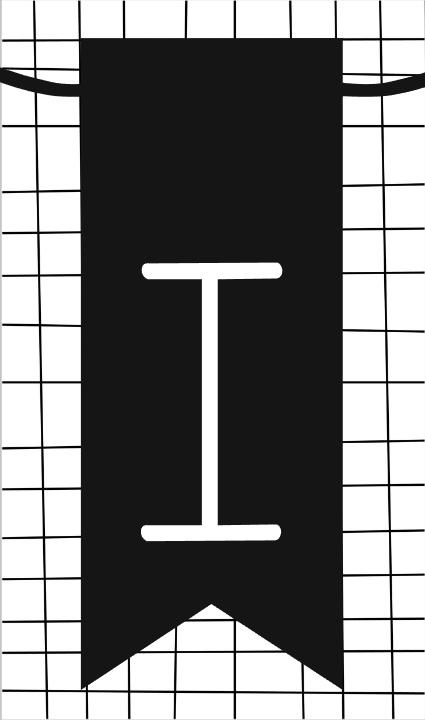 klein kaartje met letter I