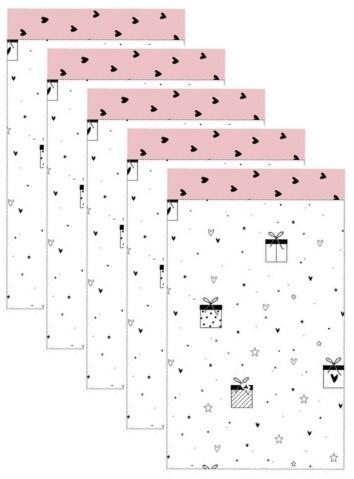 5  Cadeau zakjes, wit met zwarte pakjes 12 bij 19 cm.