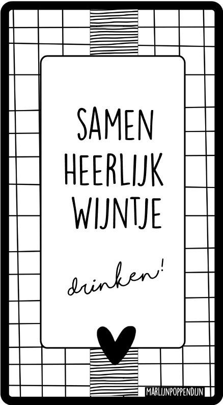 Fles etiket, leuk je fles net even anders te maken, met tekst ''Samen heerlijk wijntje drinken''. 6.5 bij 11.5 cm