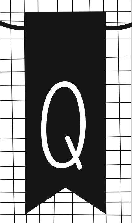 klein kaartje met letter Q