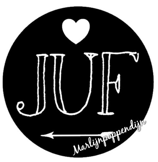 Sticker met tekst '' juf '' 6 cm doorsnee.