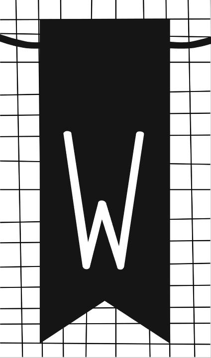 klein kaartje met letter W
