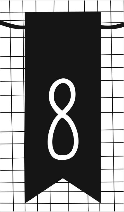 klein kaartje met cijfer 8