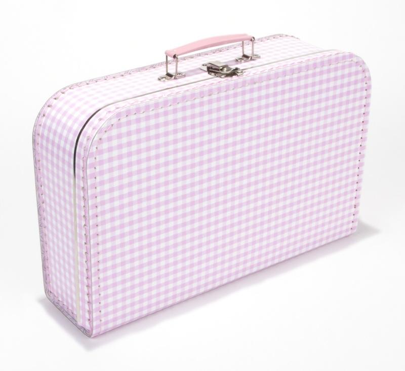 Koffer licht roze geruit 35 cm