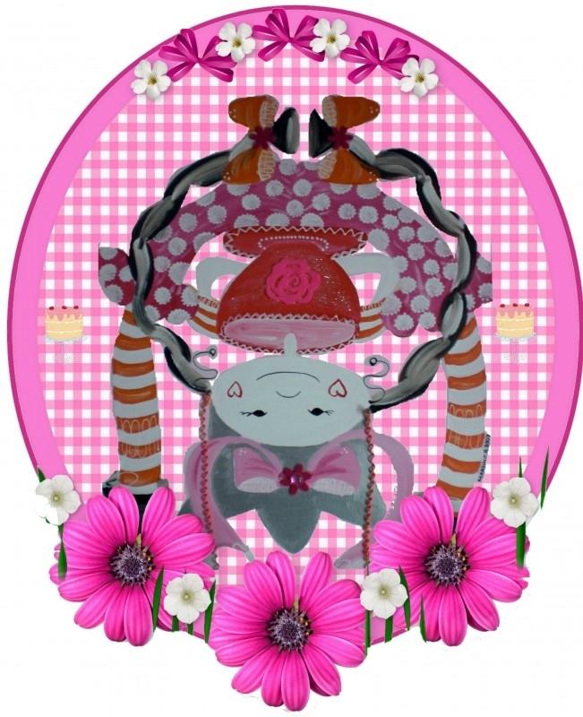 Sticker voor meisje popje op zijn kop 17 bij 14 cm.