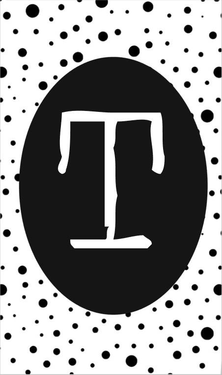 klein kaartje met letter T.