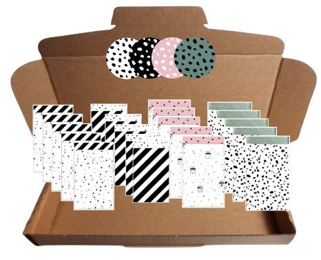 20 zakjes in 4 verschillende soorten en 20 stickers in vier verschillende kleuren.