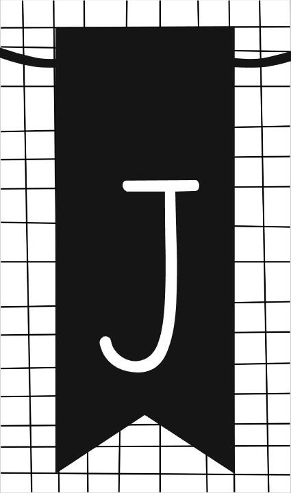 klein kaartje met letter J