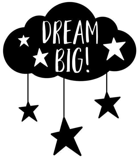 Muur/glas/hout Sticker zwart ''Dream big '' 30 bij 30 cm.