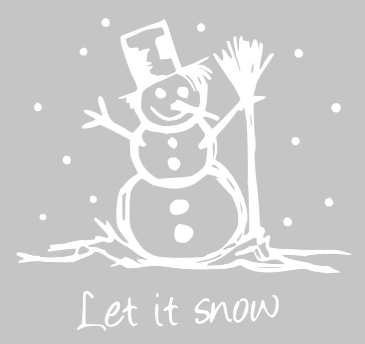 Muur/glas/hout  sticker sneeuwpop wit  30 bij 30